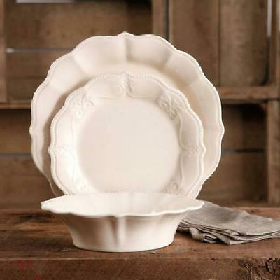 The Pioneer Woman Paige 12-Piece Dinnerware Set, Linen NEW