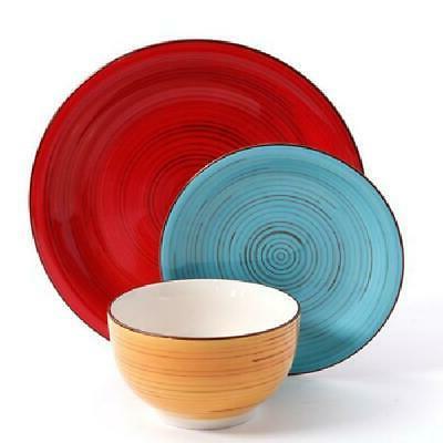 12-Piece dinnerware set Plates Kitchen Dishes Dinner Bowls C