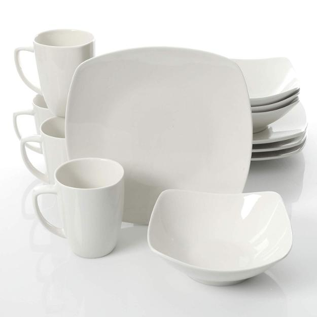 12 Piece Dinnerware Set Square 4 Dinner Plates Bowls Mugs Ho