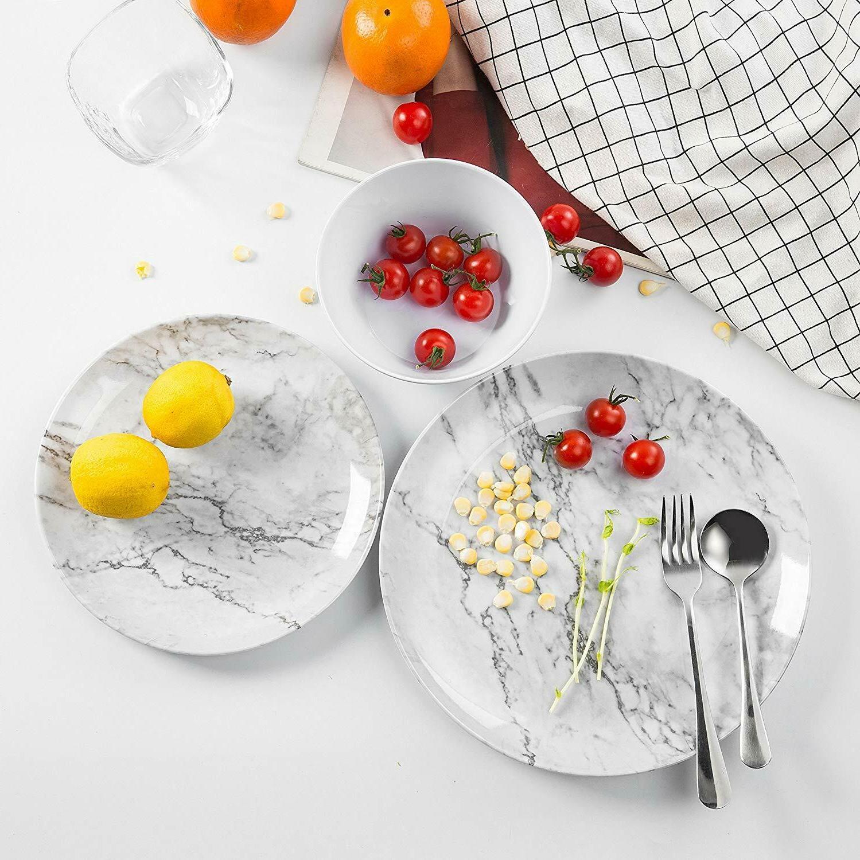 12 Dinnerware White Pattern Dishwasher Safe Lightweight
