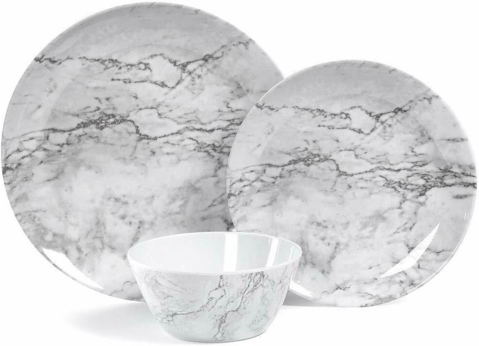 12 Dinnerware White Marble Pattern Design Dishwasher Lightweight