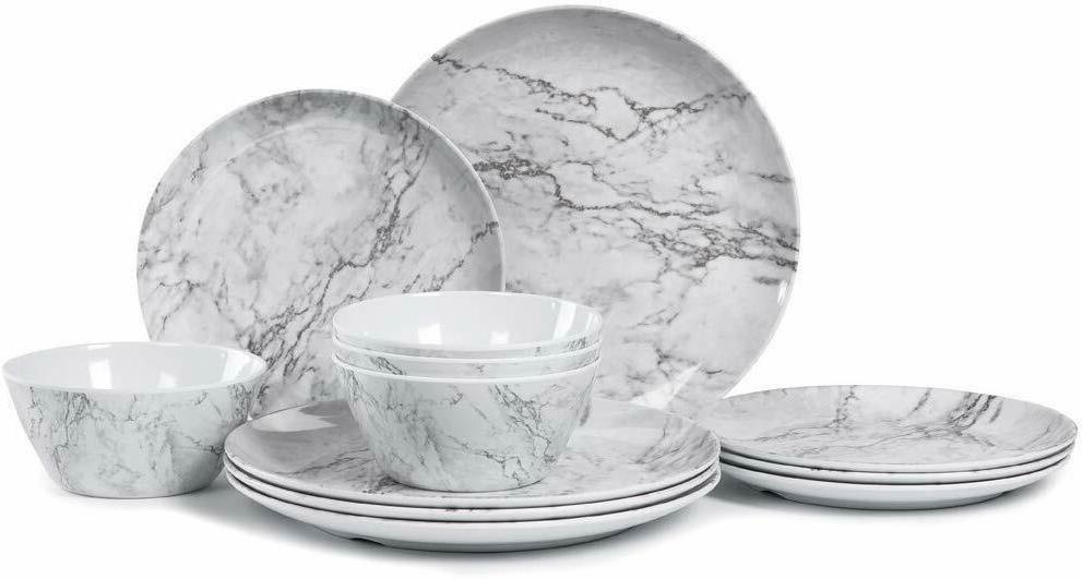 12 Dinnerware White Pattern Dishwasher Lightweight