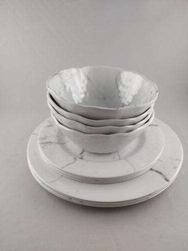 12 piece dinnerware set white marble pattern
