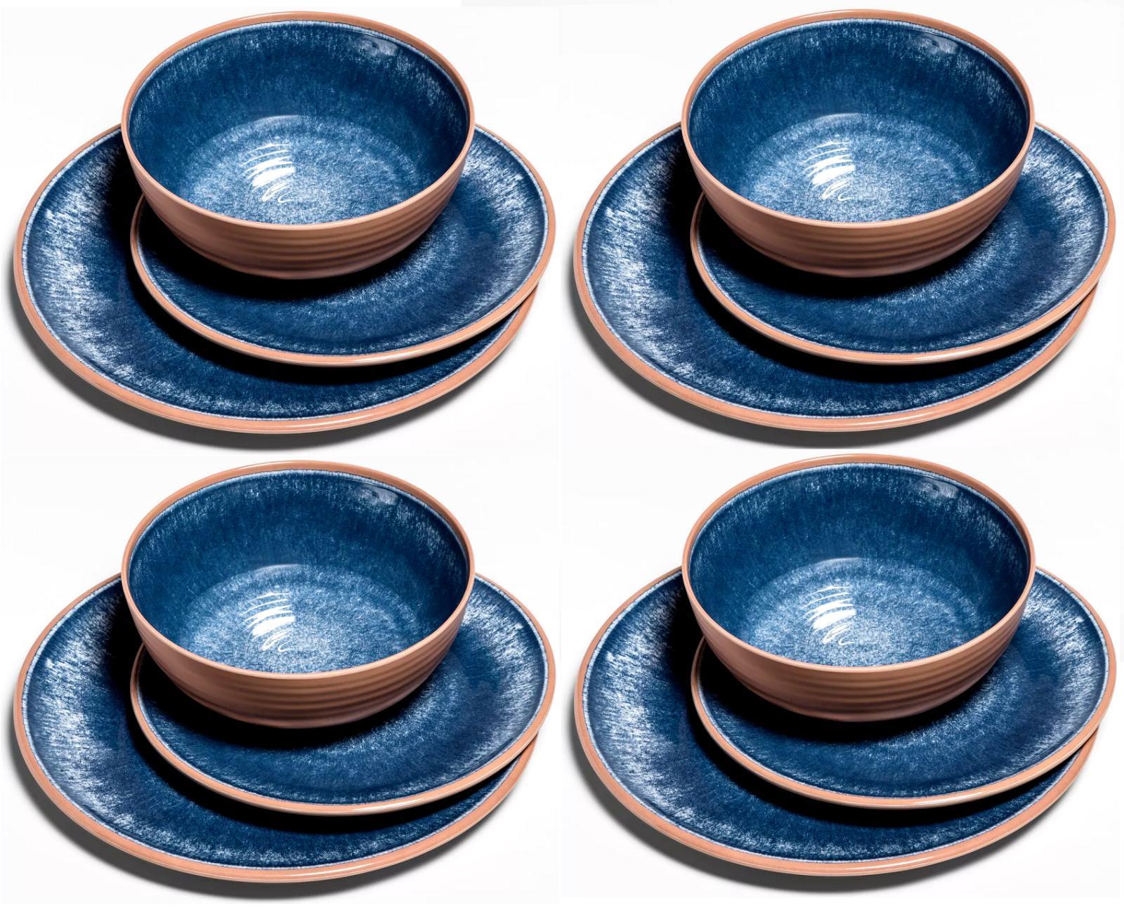 12 piece melamine dinnerware set blue clay