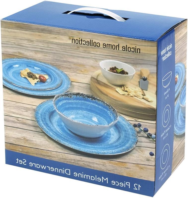 Nicole Collection 12-Piece Melamine Dinnerware Rustic