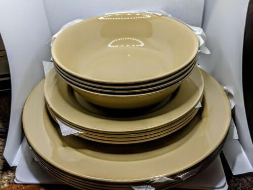 12 Piece Melamine Dinnerware Set - Tan
