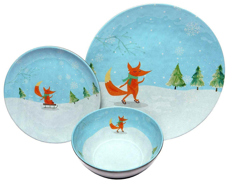 12 piece shatter proof winter fox melamine