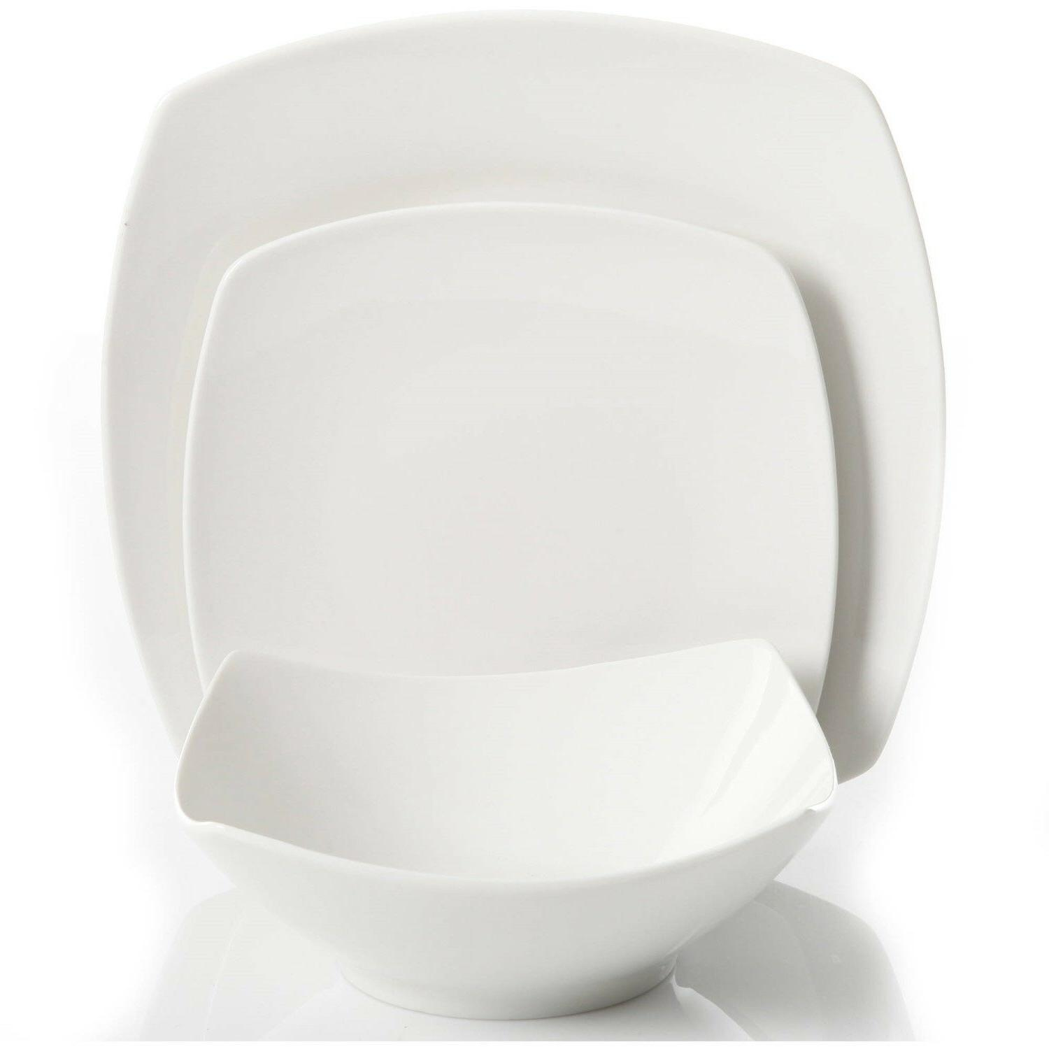 12-Piece Square Set Dinner Plates Ceramic White Dishes