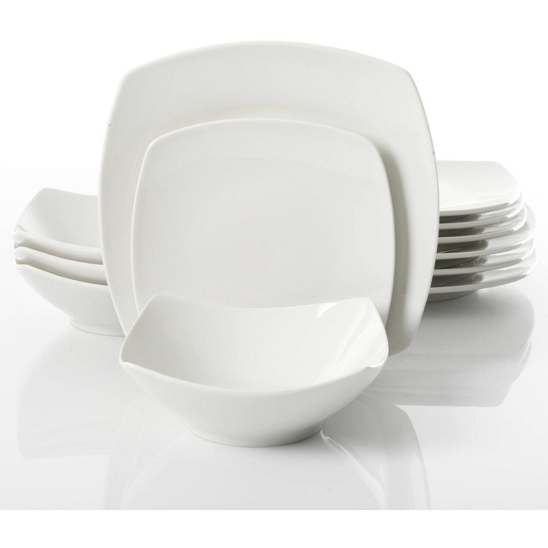 12-Piece Dinner Bowls Ceramic White