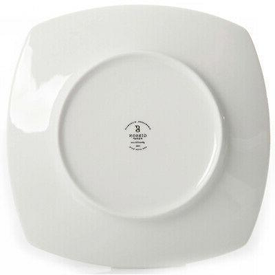 12-Piece Square Dinnerware Dinner Dessert Plates Ceramic White Dishes