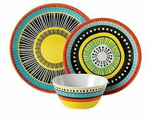 12Pc Almira Melamine Plates Bowls Kitchen 4Set