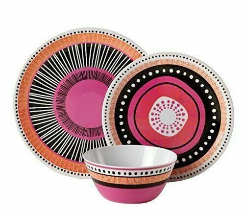 12Pc Melamine Dinnerware Plates Kitchen 4Set