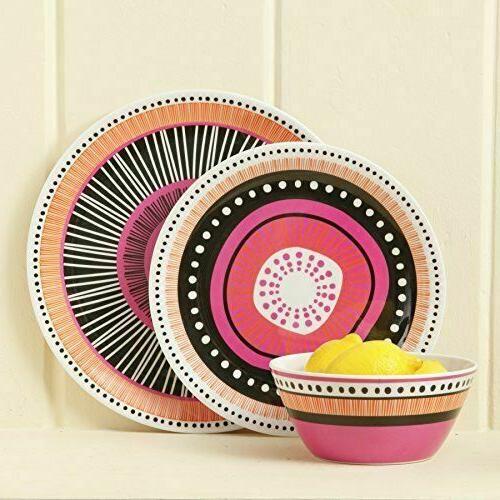 12Pc Melamine Plates Bowls Kitchen