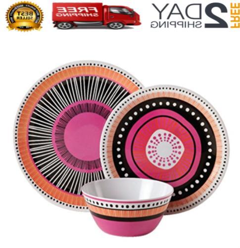 12pc almira melamine dinnerware plates bowls dishes
