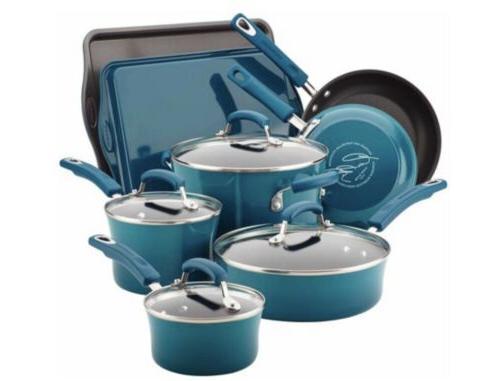Set Nonstick Blue Pans Teal Stick