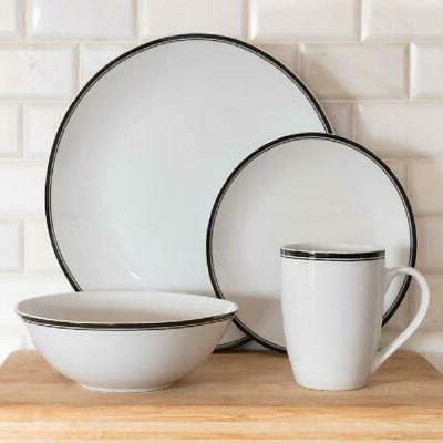 10 Strawberry Street 16-Piece Black Rim Coupe Dinnerware Set