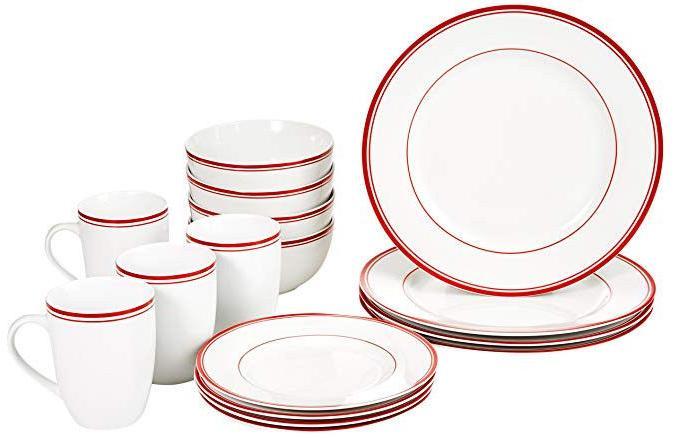 16 piece cafe stripe dinnerware set service