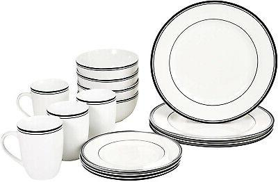 AmazonBasics Cafe Stripe Kitchen Set, Bowls,