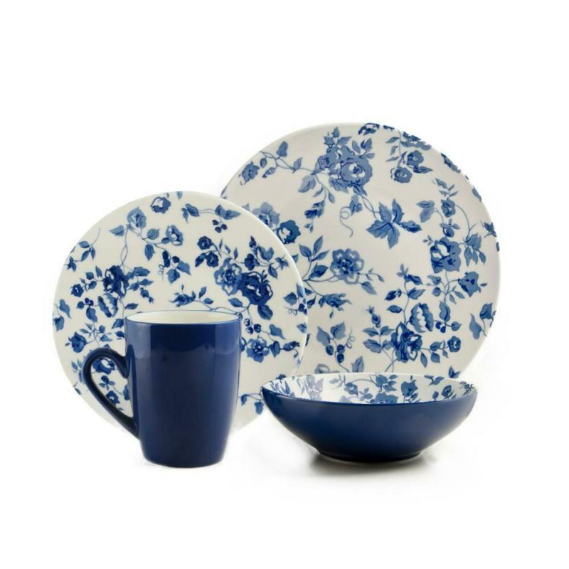 16 piece casual blue ceramic dinnerware set