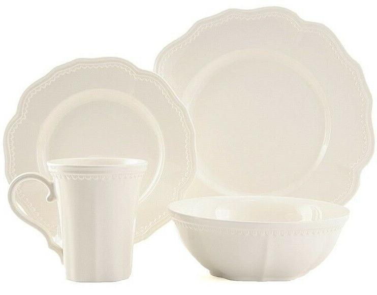 16 piece classic scalloped dinnerware set