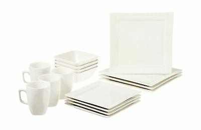 16 piece classic white kitchen dinnerware set