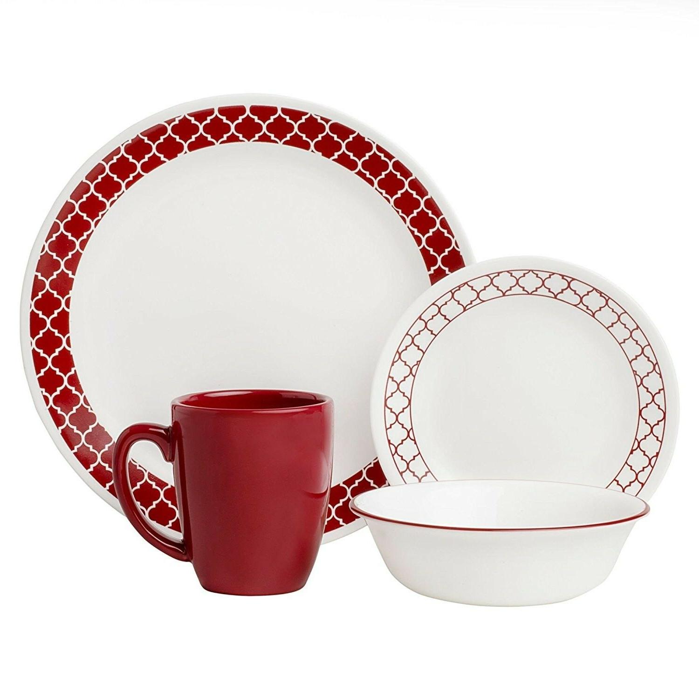 Corelle 16 Piece Crimson Trellis Livingware Dinnerware Set,