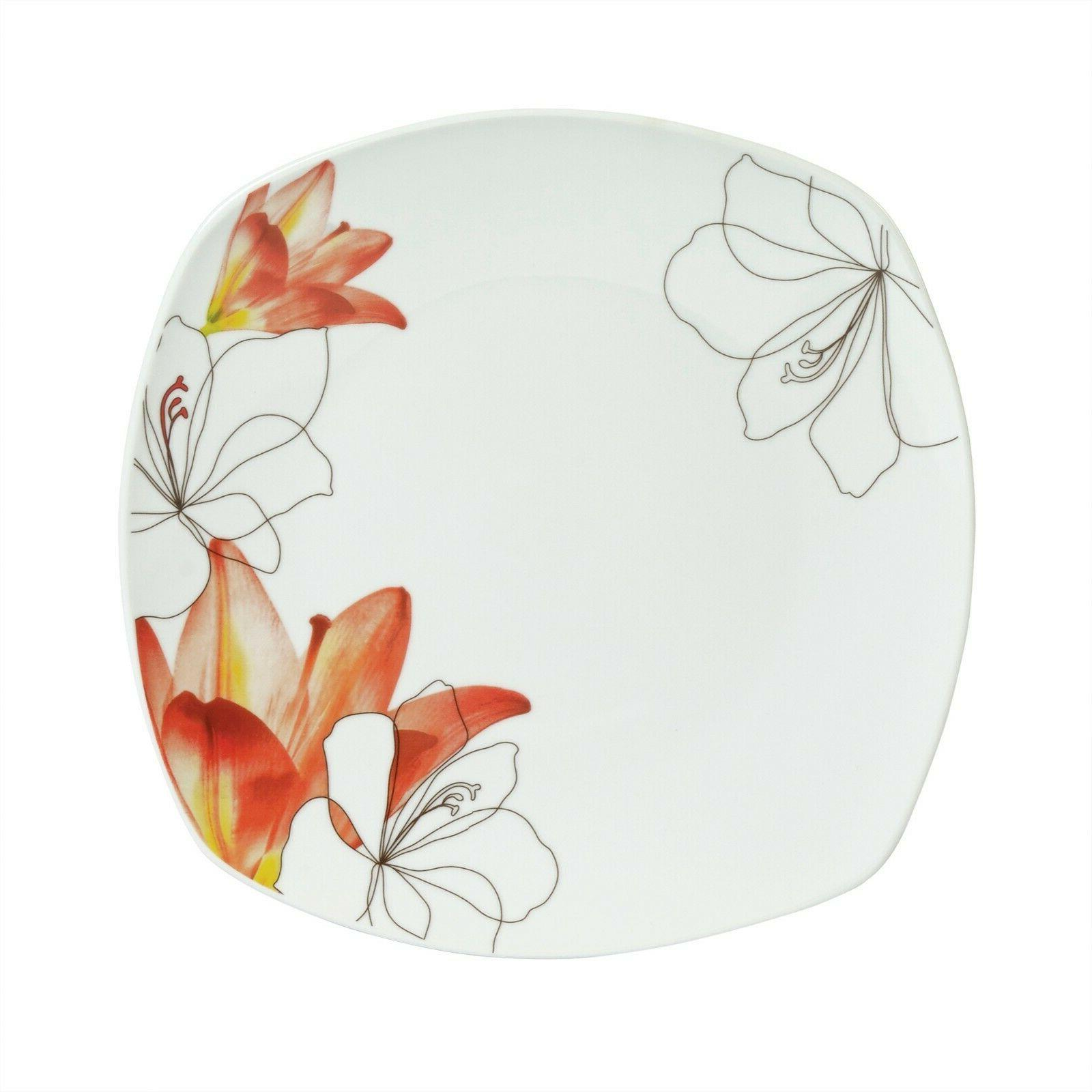 16 Piece Leaves Set Square Dishwasher Freezer Microwave Ceramic