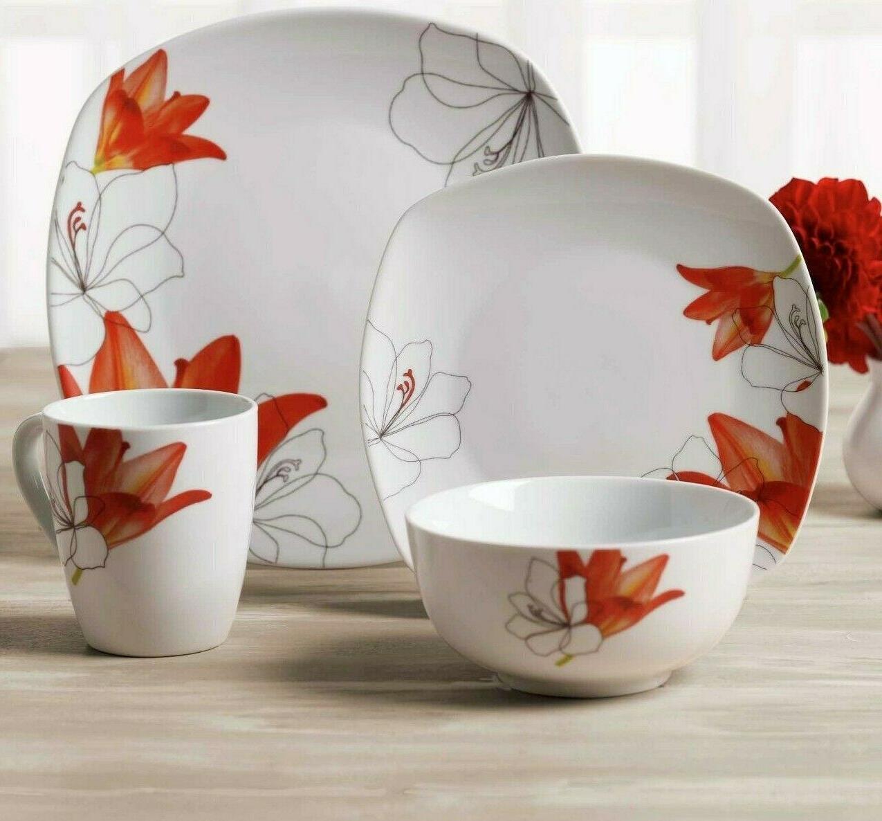 16 piece dinnerware autumn set square dishwasher