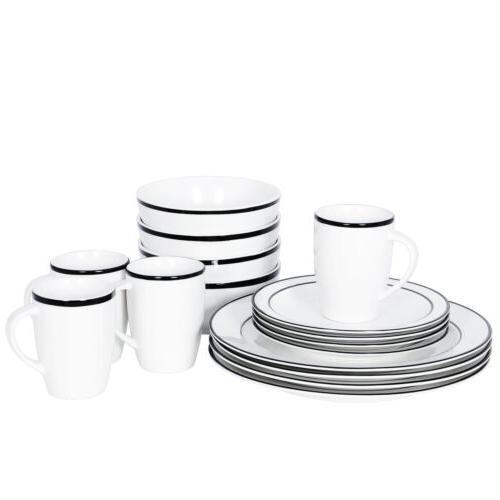 Black 16-Piece Kitchen Dinnerware Set Include Plates Bowls M