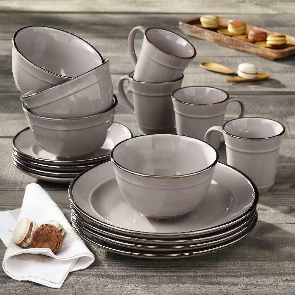 16 Piece Dinnerware Set, Gray Better Homes & Gardens Farma D
