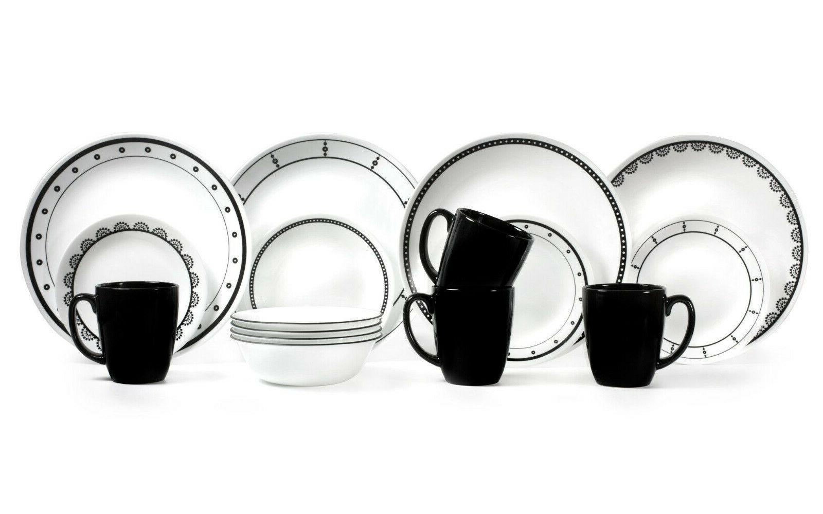 16 Piece Dinnerware Set Lightweight Dinning Plates Bowls Mug