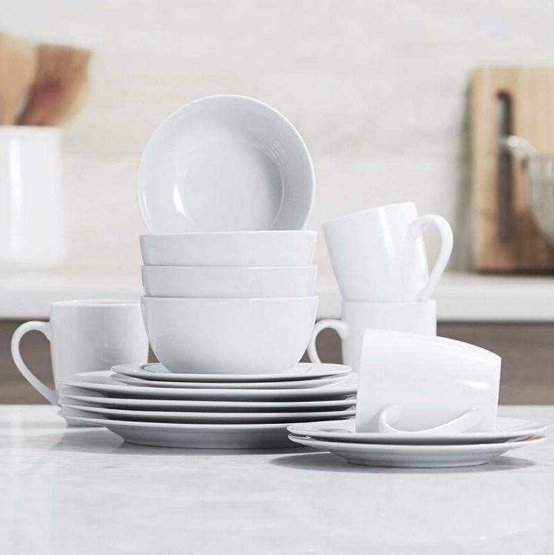 White Round 16 Piece Dinnerware Set Service for 4 Dishes Din