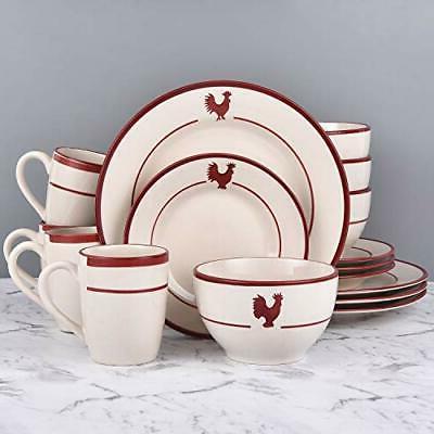 16 Sets, Red Ceramic Dinnerware