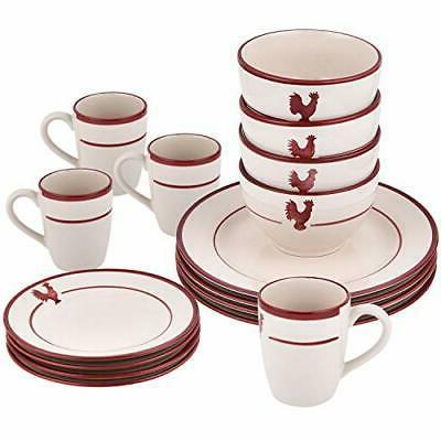 16 piece dishes dinnerware sets red stripe