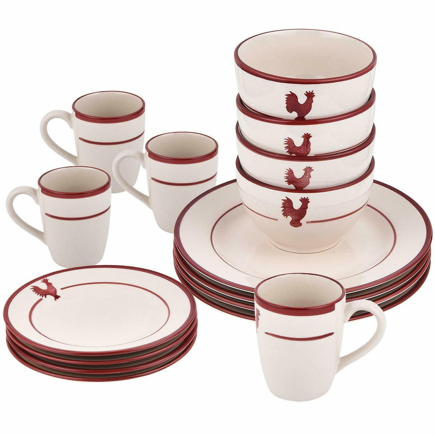 16-Piece Dishes Red Ceramic