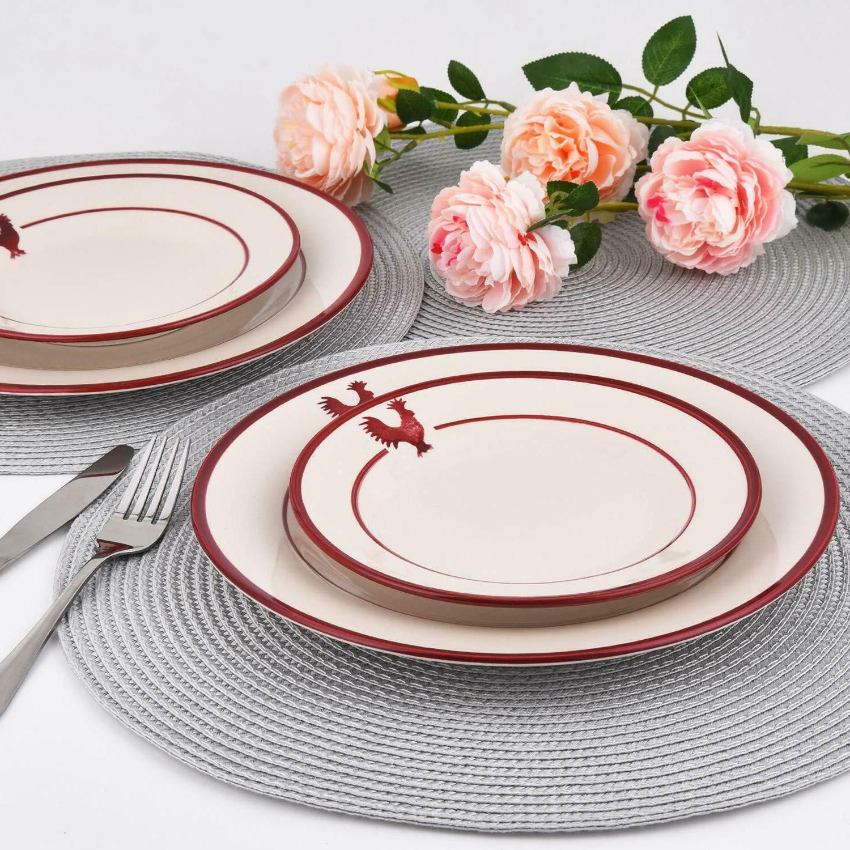 16-Piece Dinnerware Red Ceramic Dinnerware
