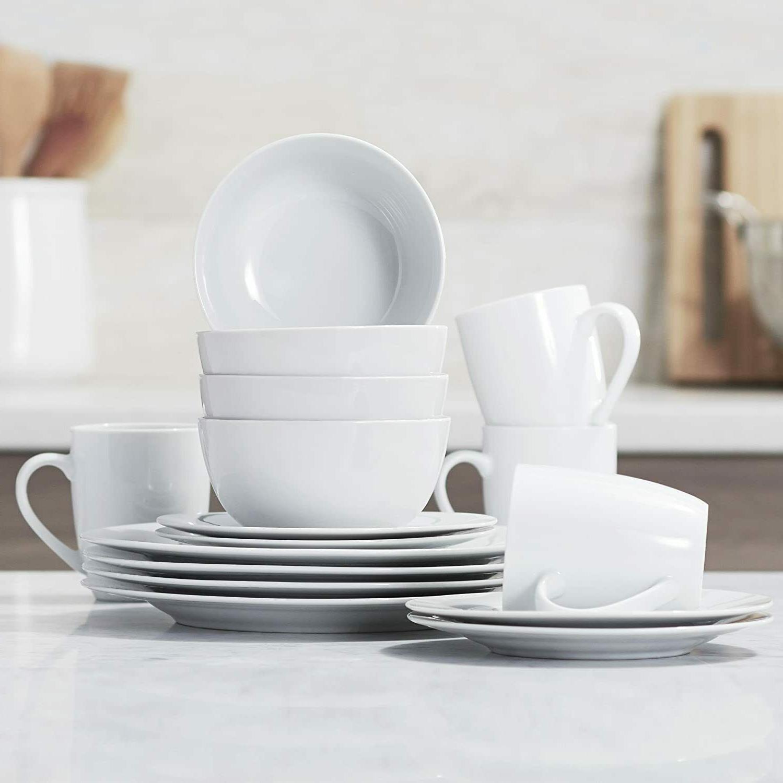 16-Piece Kitchen Set, Plates, Mugs, for 4, White