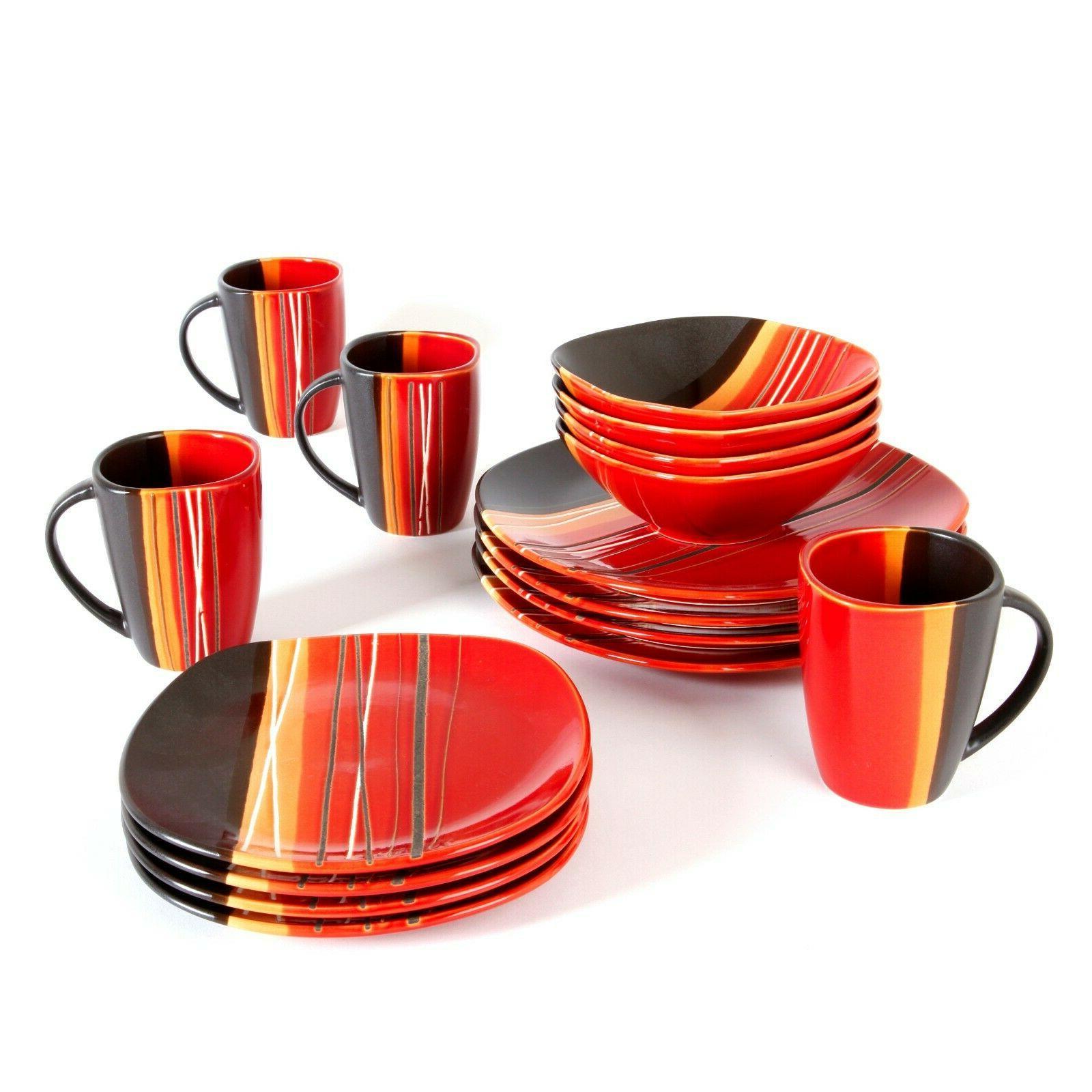 Square Dinnerware Set For 4 Stoneware Kitchen 16 pcs Plates