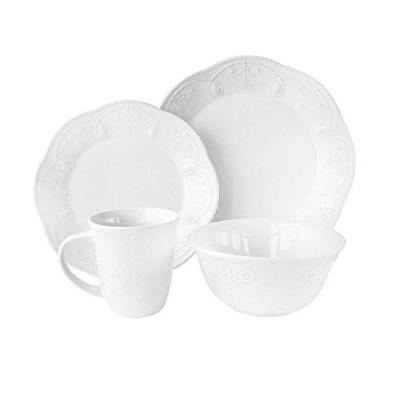American Atelier 16 Piece Pointelle Dinnerware Set, White