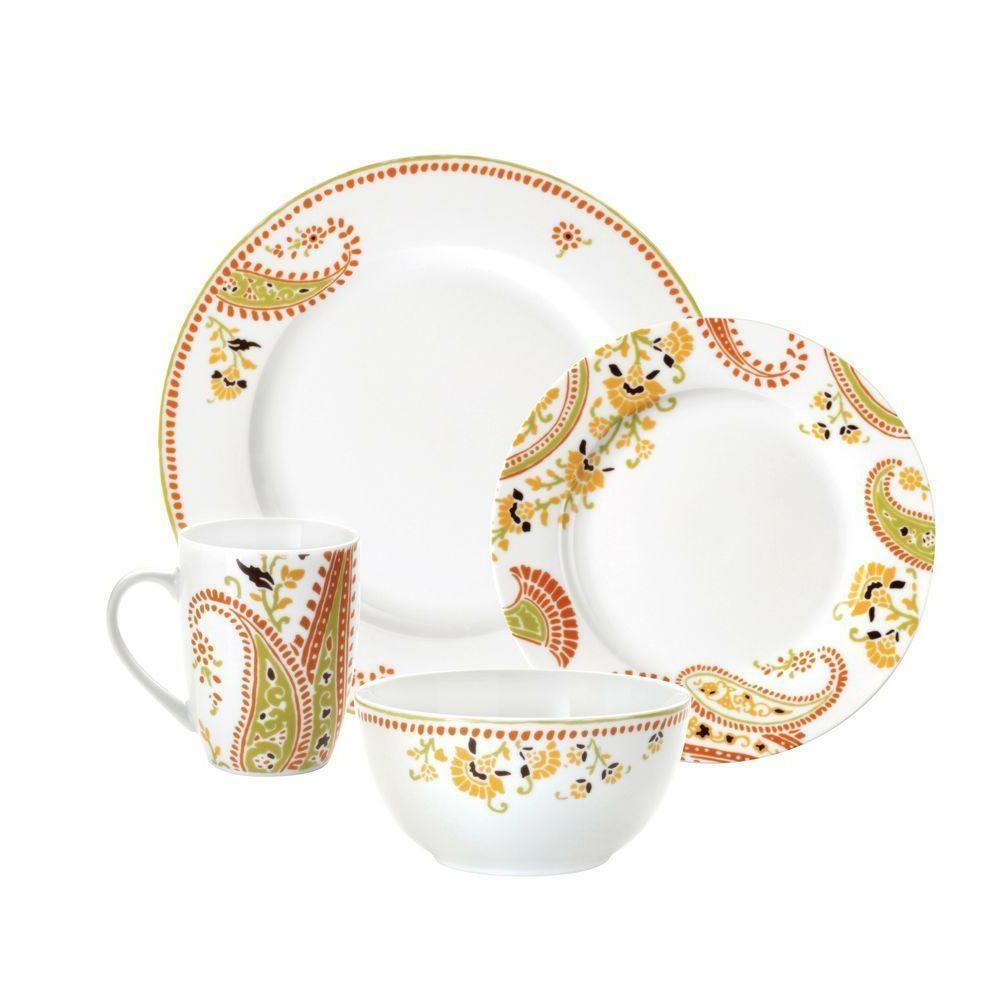 16 piece porcelain dinnerware set colorful patterns