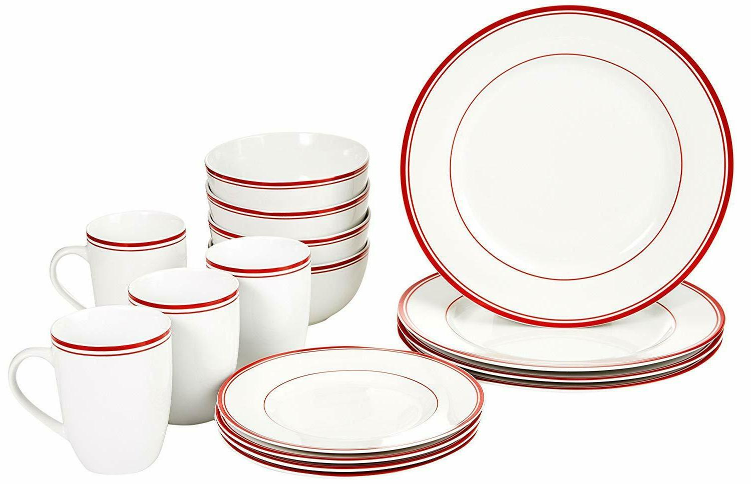 AmazonBasics 16-Piece Cafe Stripe Kitchen Dinnerware Set, Pl