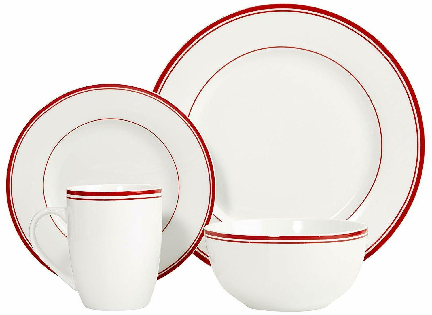 AmazonBasics 16-Piece Kitchen Plates, Bowls, Mugs,
