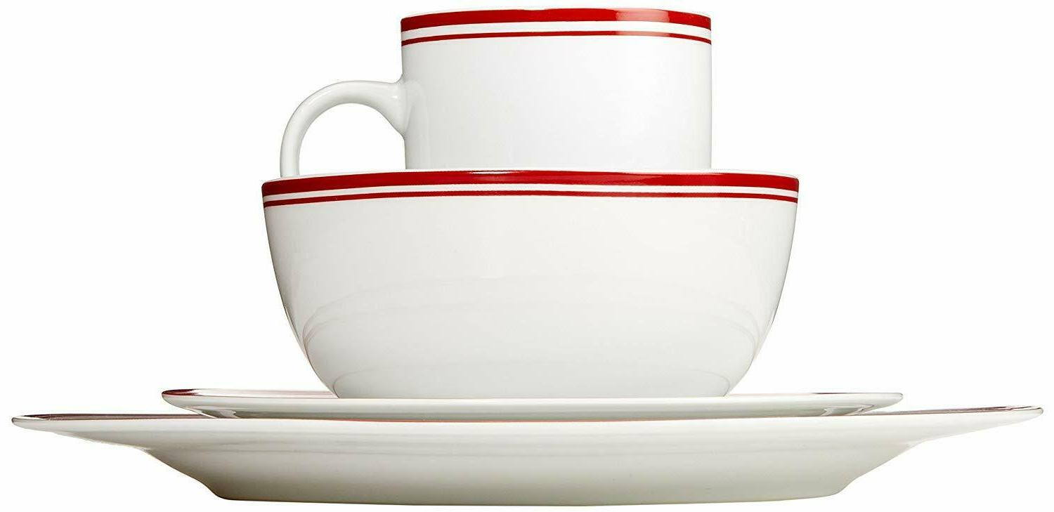 AmazonBasics Cafe Stripe Kitchen Dinnerware Set, Bowls, Mugs,