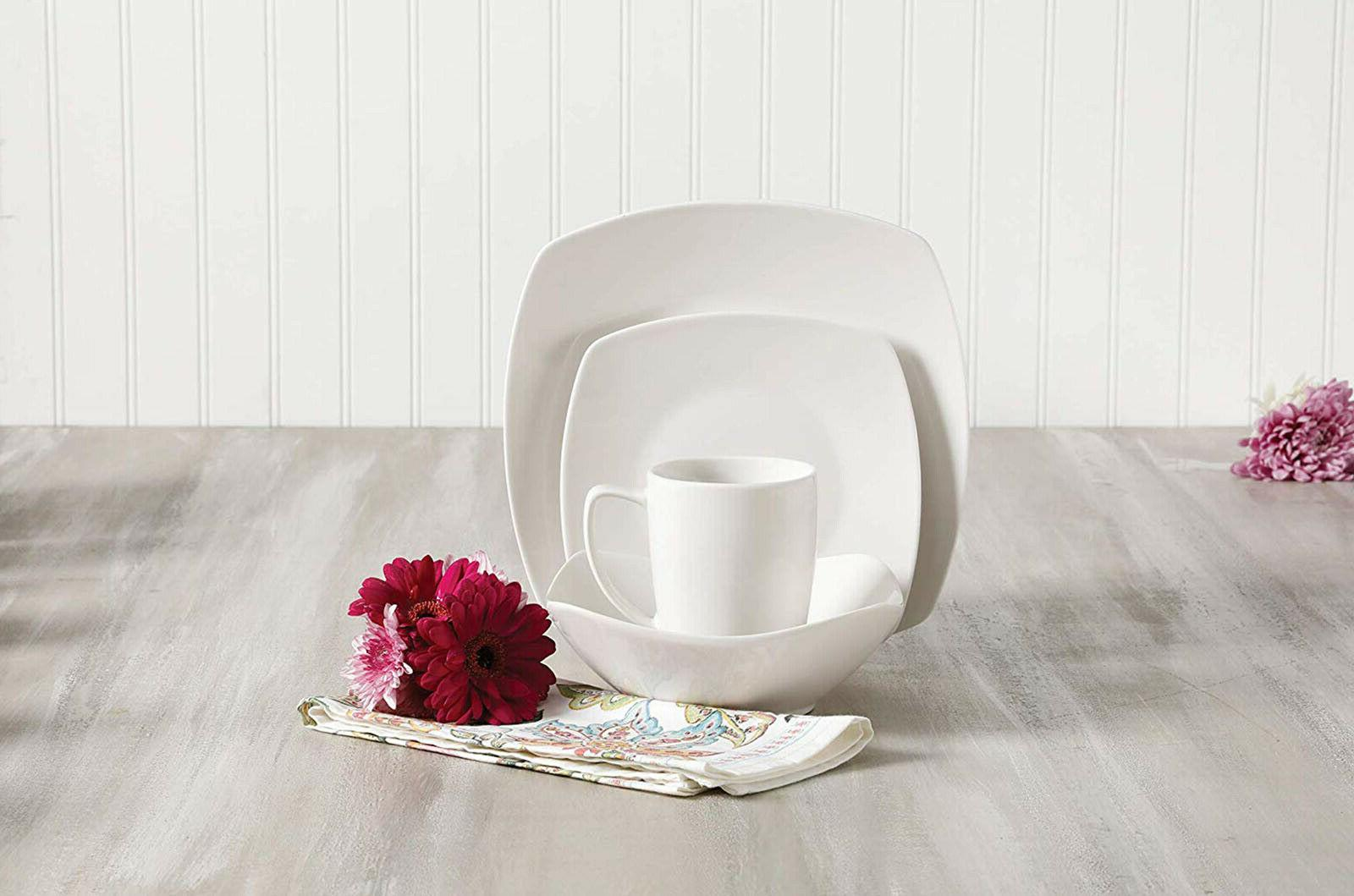 16 Piece Porcelain Dinnerware Set Plates Service 4