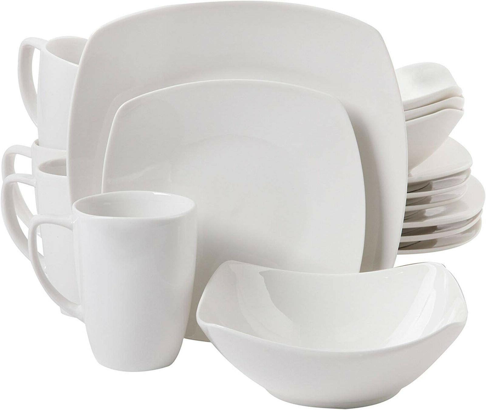 16 Piece Porcelain Set White Plates 4