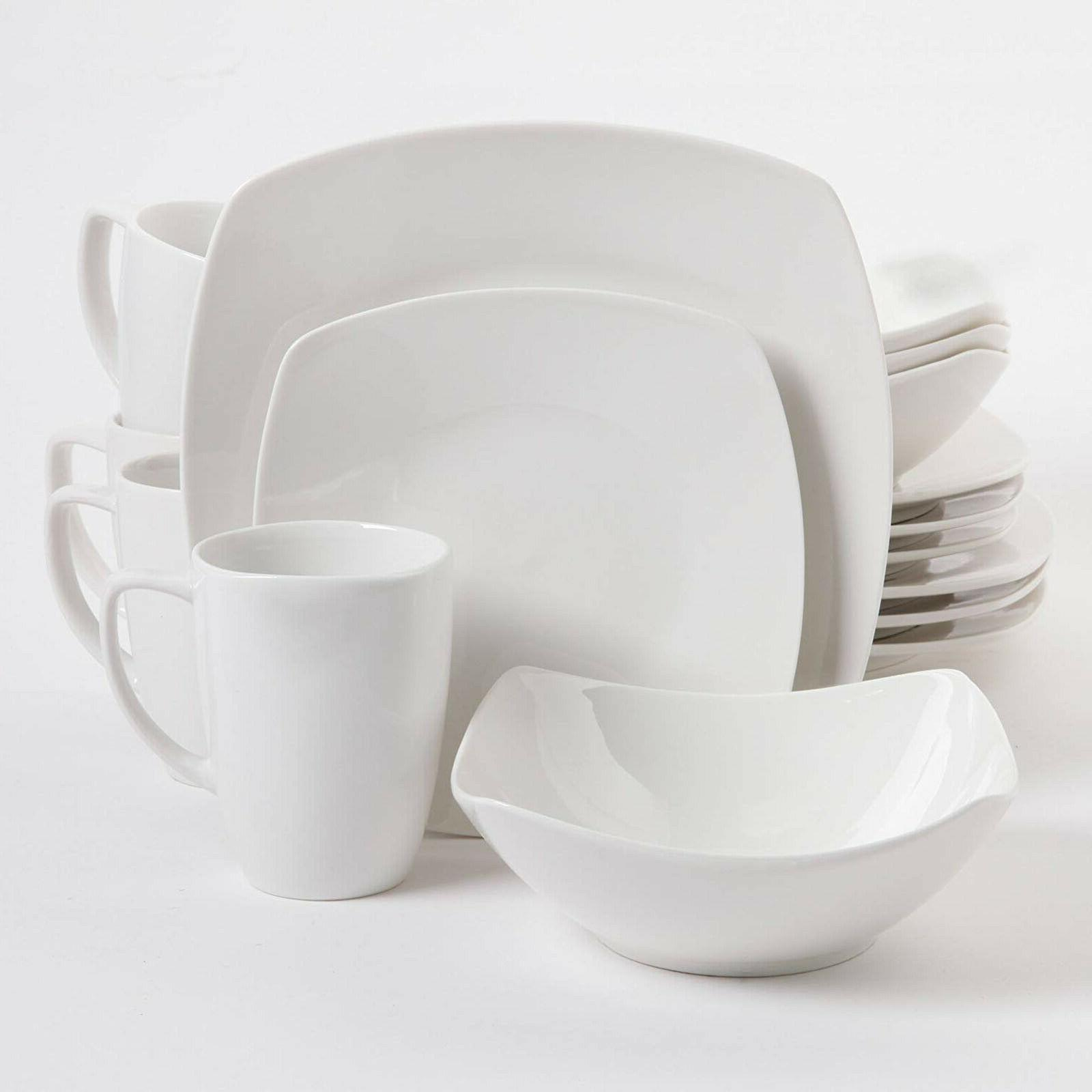 16 Porcelain Set White Plates Service 4