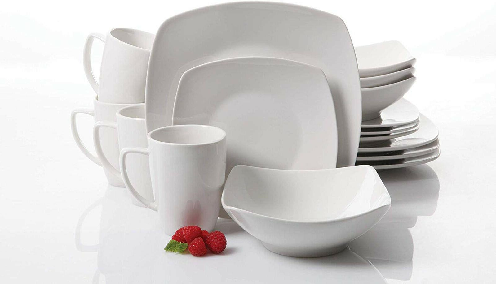 16 Piece Porcelain Dinnerware Set White Square Dinner Plates