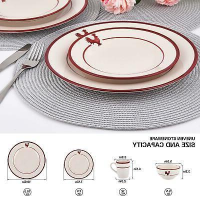 16 Piece Rooster Round Ceramic Dinnerware