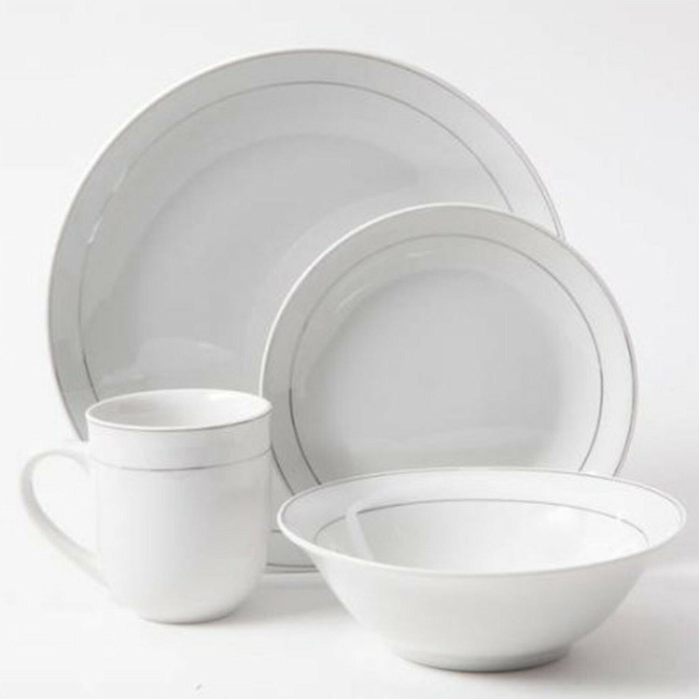 16 Round Set White Plates Bowls Mugs