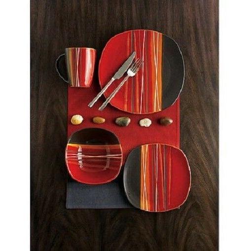 Stoneware Dinnerware Set 16 Piece Round Kitchen Plates Dishe